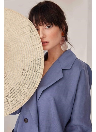 Vivencia Keten Kadın Ceket Lacivert Lacivert